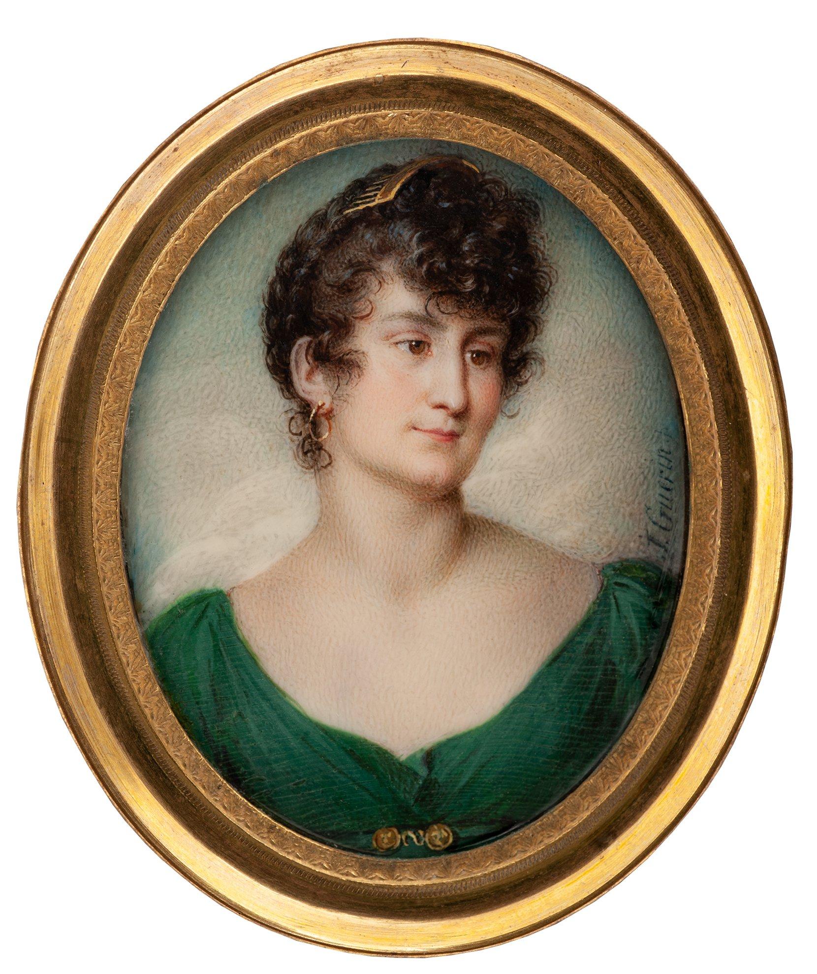 lady in a green dress -- jean urbain guérin art painting