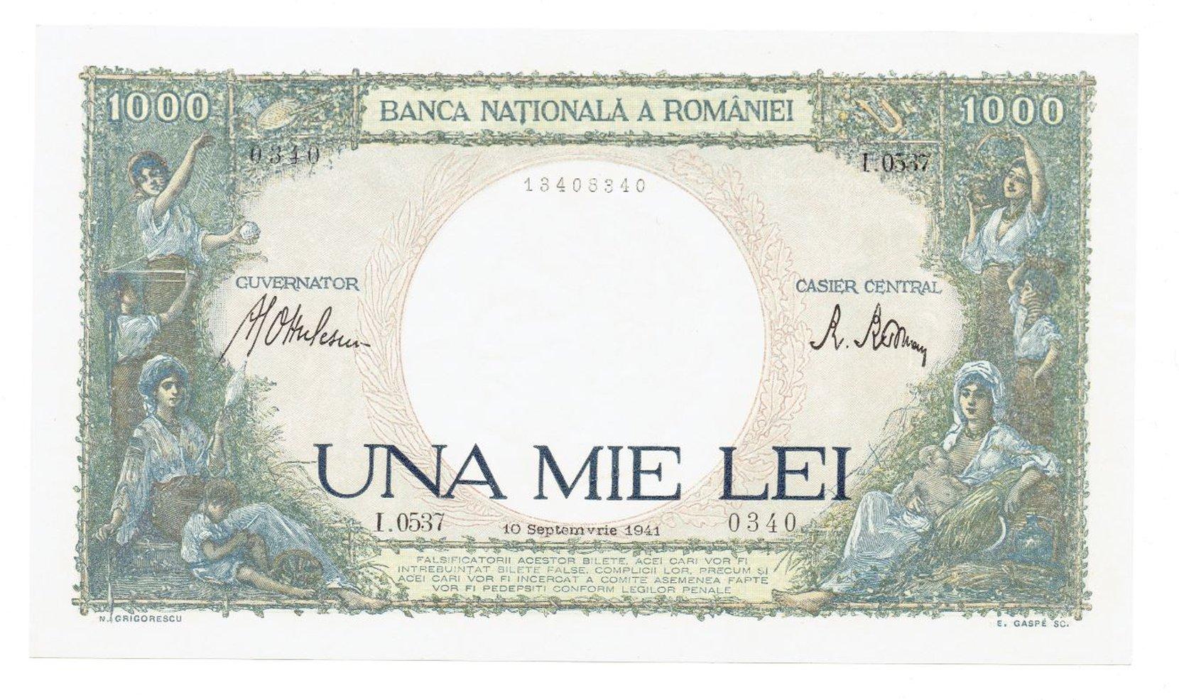 rumunia - 1000 lei, 1941r. unc numismatics banknotes