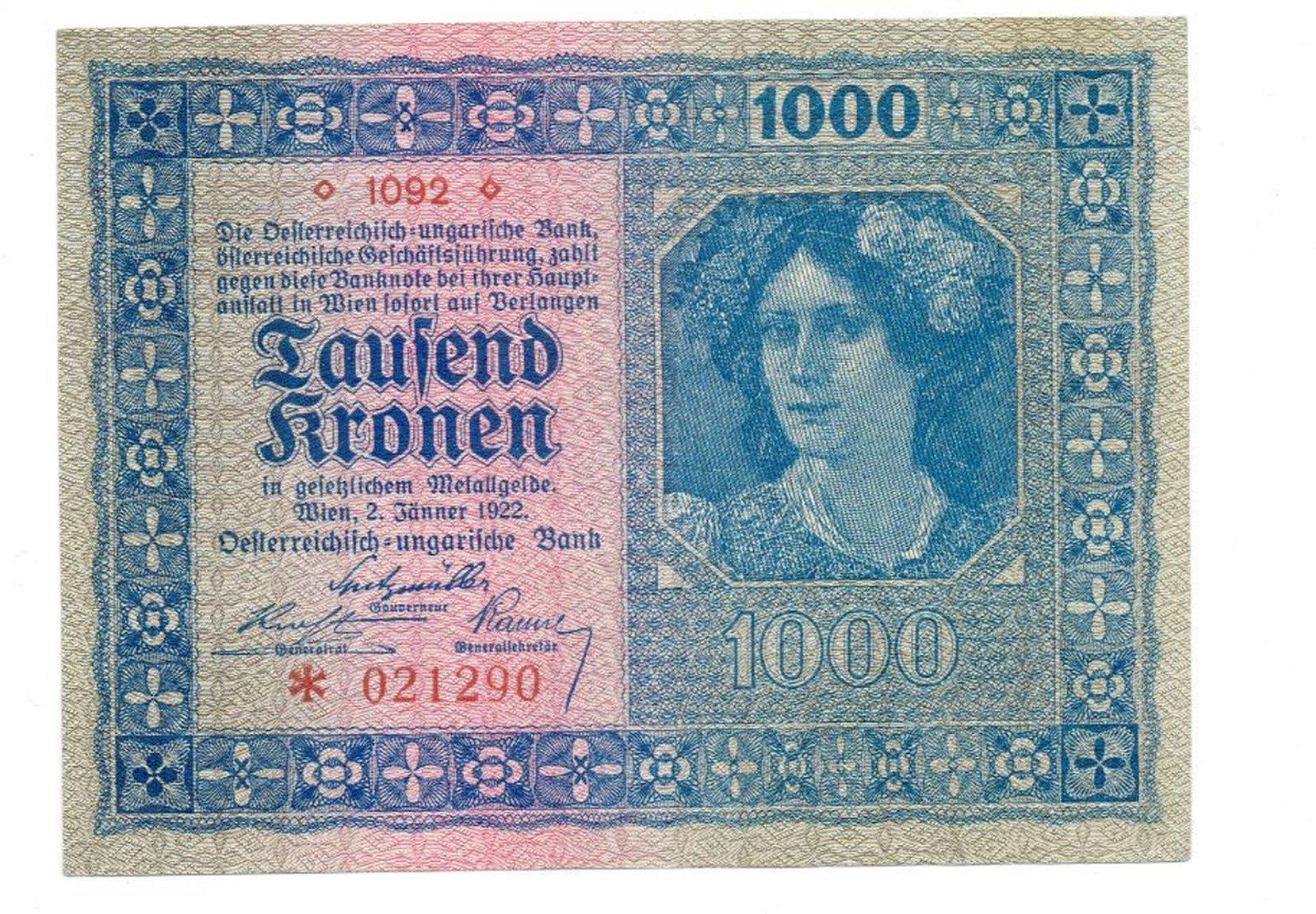 austria - 1000 koron, 1922r. unc- numismatics banknotes