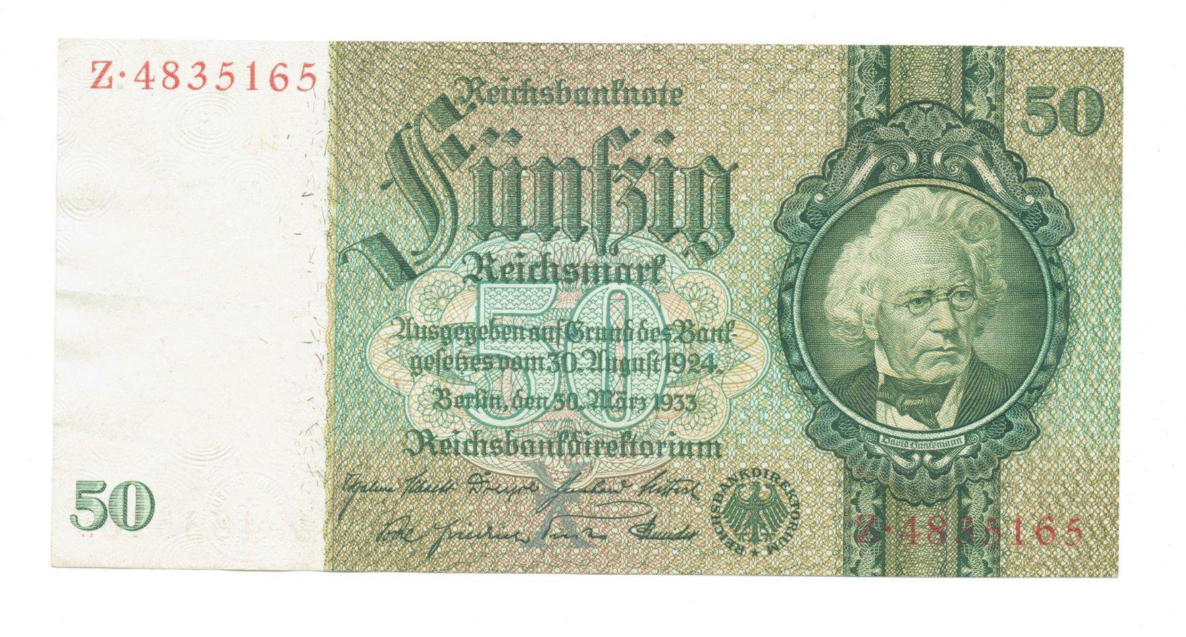 germany - 50 reichsmark, 1933r. unc numismatics banknotes