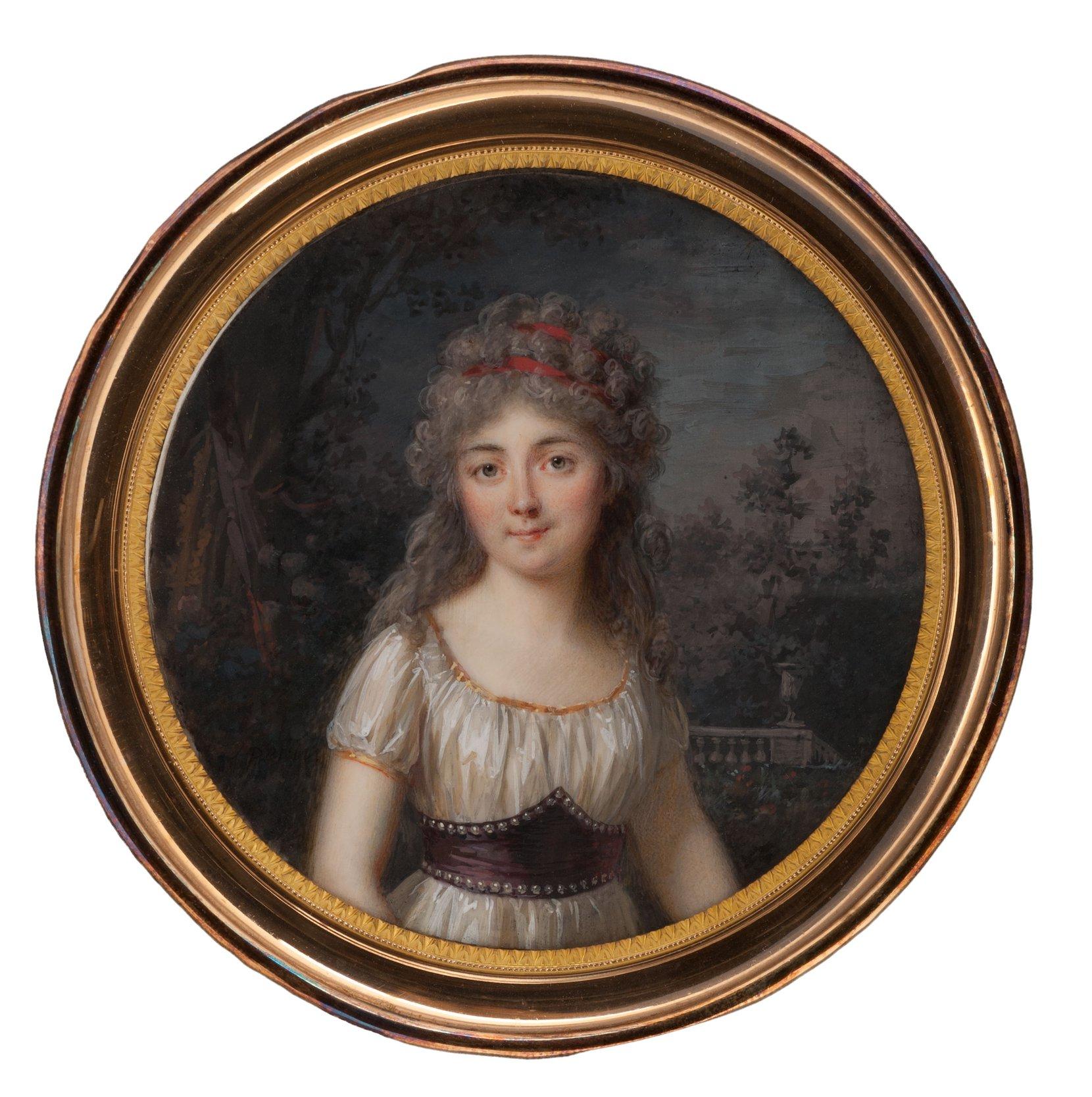 young lady in a park, louis-lié périn-salbreux art painting