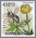 Trollius europaeu, Apis cerana, 2009 Comoros Stamp