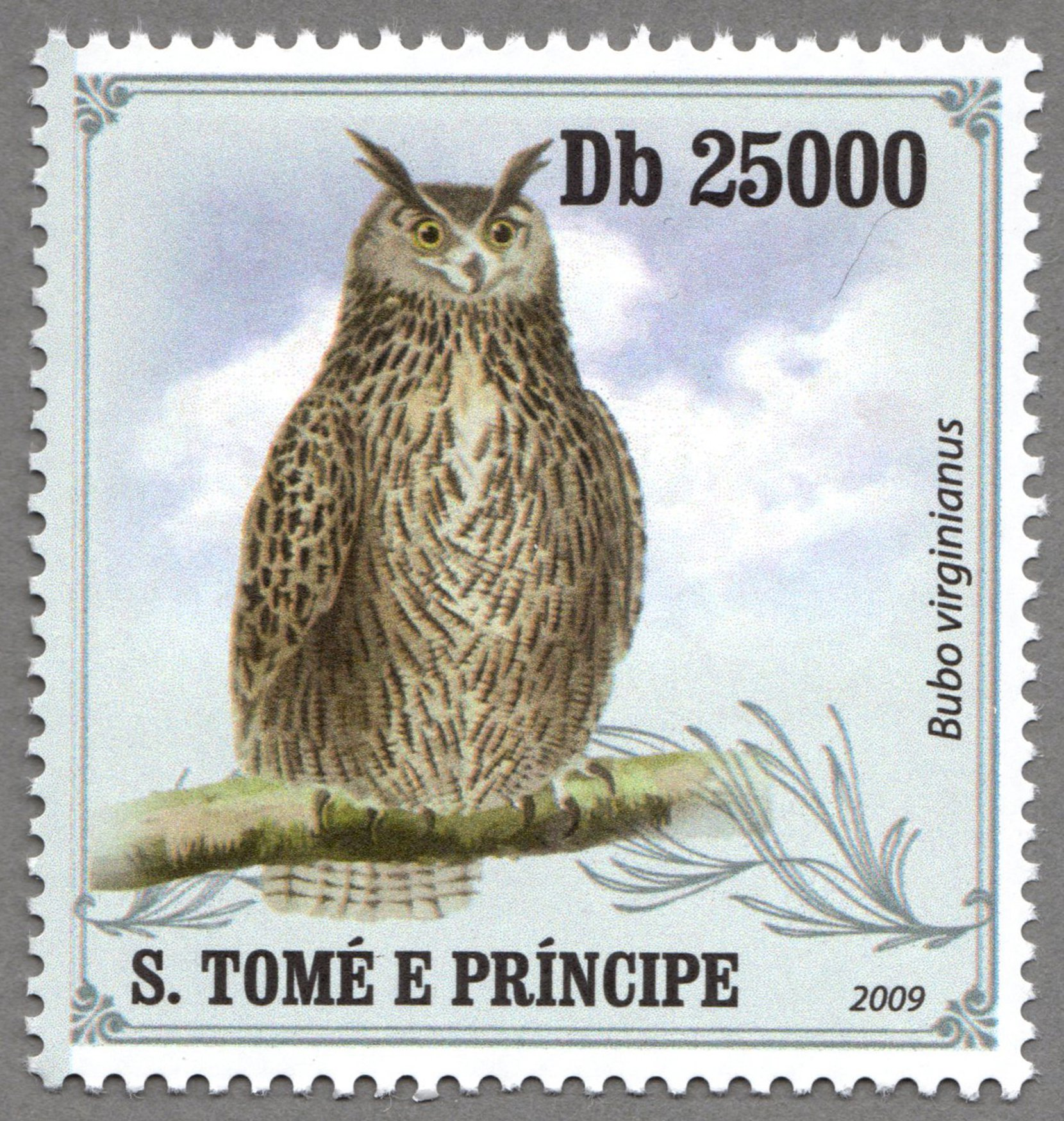 bubo virginianus, s.tome e principe stamp (2) philately postage stamps
