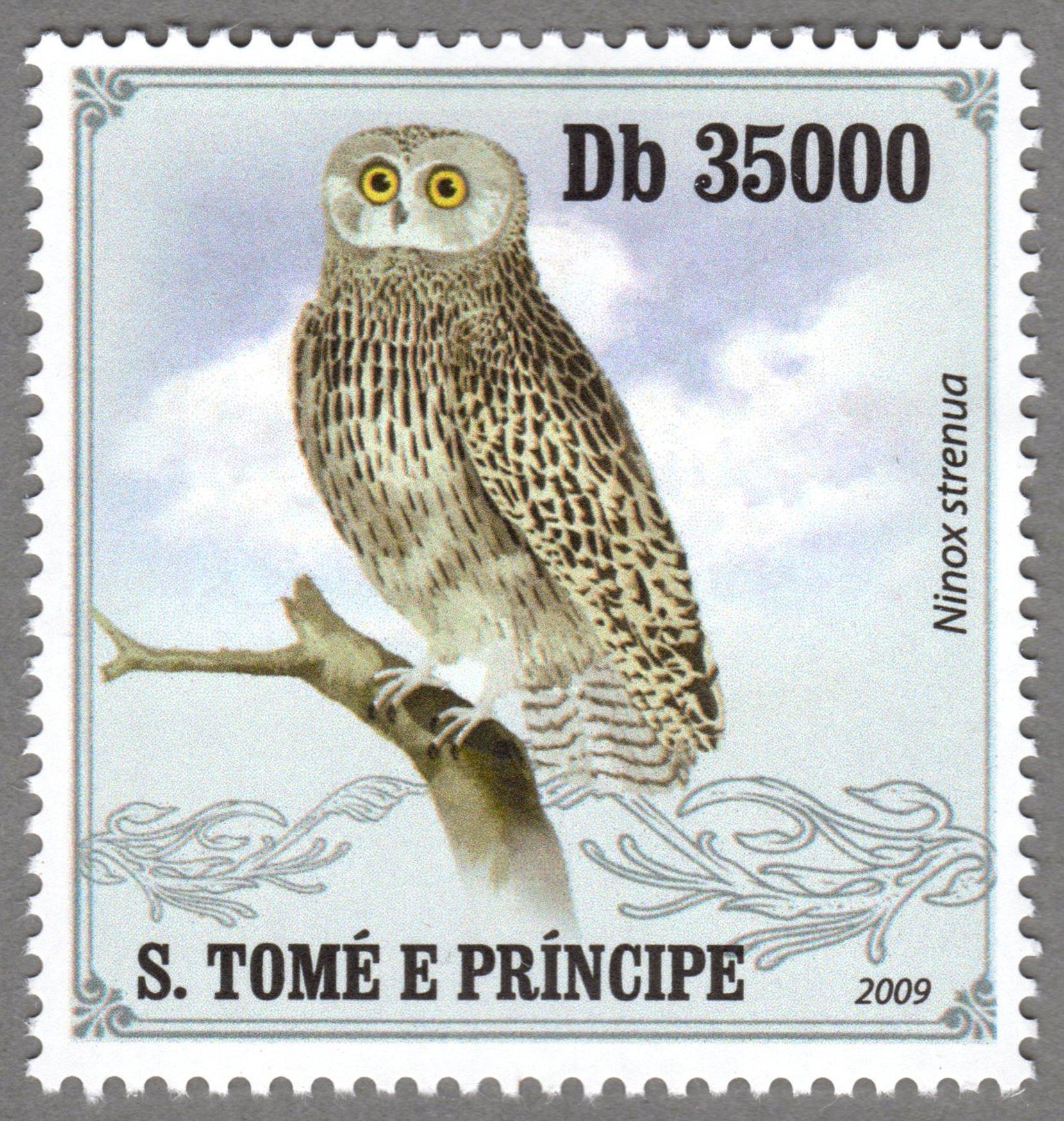 ninox strenua, s.tome e principe stamp (4) philately postage stamps