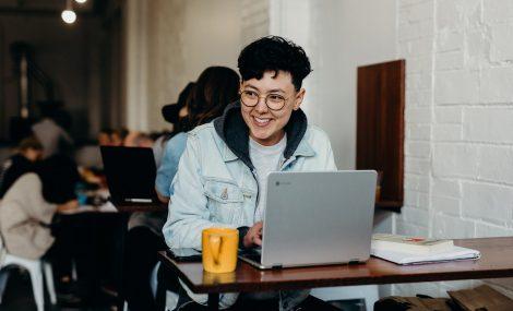 Image of happy freelancer