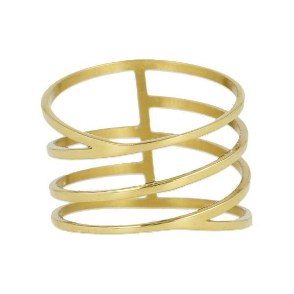 My Bendel Gouden wrap ring met open design
