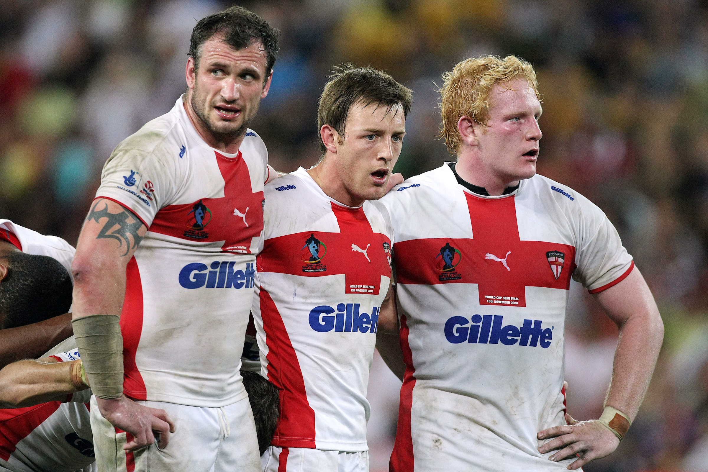 Roby (centre) with Jamie Peacock and James Graham