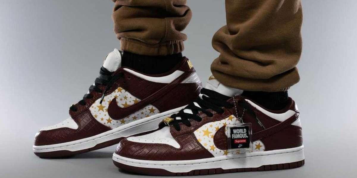 "Latest 2021 Supreme x Nike SB Dunk Low ""Brown Stars"" DH3228-103"