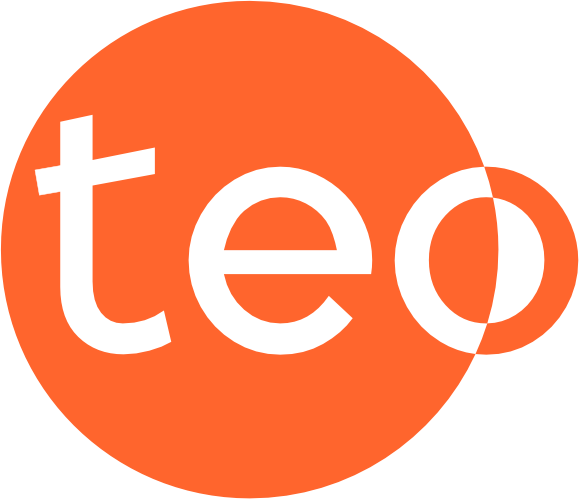 teo letters in a full orange circle