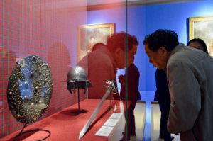 Romantic Scotland exhibition, helmet and sword